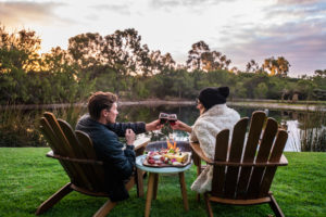 Couple picnic near the lake