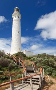 Cape Leeuwin lighthouse view on a sunny day.