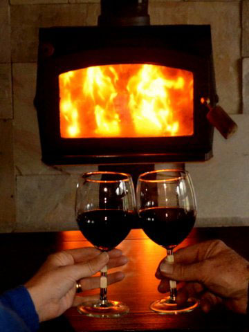 Enjoy a wine next to your wood fire
