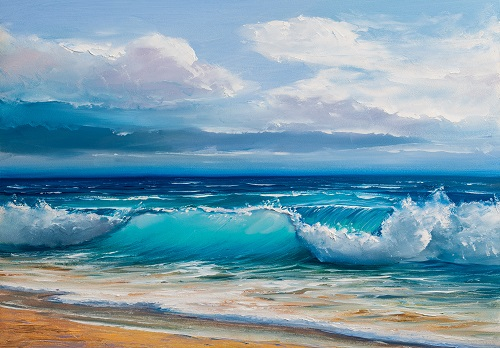 Oil painting of the beach