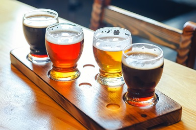 Beer flight with various types of craft beer