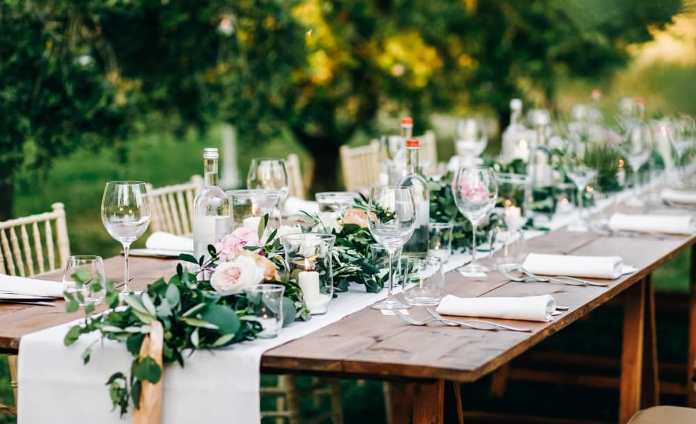 Wedding reception table set-up.